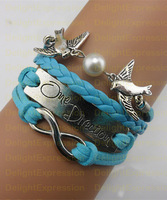Fashion Handmade One Direction Birds antique silver pendant leather bracelet,best gift for lover. Min Order $6