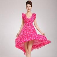2014 New European and American Fashion women's summer dress Rose peach print sleeveless V-neck chiffon dress