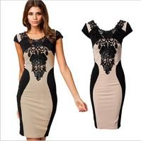 2014 New Fashion Women Summer Casual Dresses Sheath Knee-Length Cotton O-Neck Short Women Lace Dresses Size S-XXL