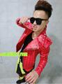 mc Korea bigbang rights Chi Long GD men s singer stage plus size mc leather jacket