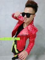 mc Korea bigbang rights Chi Long GD men's singer stage plus size mc leather jacket coat, can be customized / S-XXXL