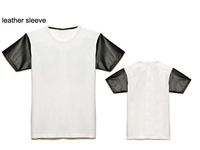 New style mens fashion faux pu leather sleeve t shirt for men hiphop blank t-shirt size S M L XL XXL XXXL