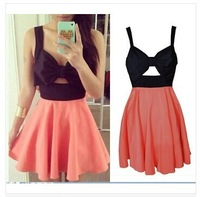 Free shipping Hollow chest bow dress women sexy cocktail party halter mini club dress summer dresses 2014 vestidos