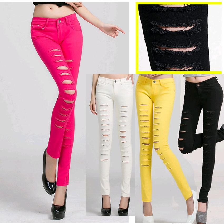 plus size nuovo da donna skinny jeans pantaloni lunghi con scavare e distrutto pantaloni per le ragazze grandi dimensioni femmina sottile capris