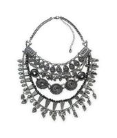 JC100 2014 Designer Women Jewelry OVERSIZED TRIBAL STUD SILVER SPIKE MULTI LAYERED STATEMENT NECKLACE Fashion Brand Necklace