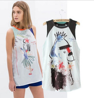 New 2014 Fashion Lady Girls Abstract Sketch Cartoon Print Chiffon Blouse Women Slim Sleeveless Painting Shirt Summer Casual Tops