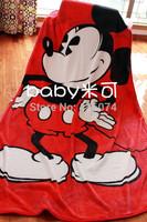 2014 New  Mickey  Mouse Children Cartoon Plush Blanket Super Soft Coral Fleece Fabric Throw Girls Sheet Red Carpet