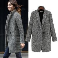 2014 New Spring/Winter Slim Fit Trench Coat Women Grey Medium Long Plus Size XXL Warm Woolen Tweed Jacket  UK Fashion Overcoat