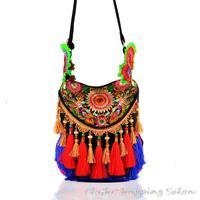 New Ethnic Embroidery Bag Embroidered Tassels Canvas Flower Shoulder Messenger Bag Women's Big Handmade Handbag