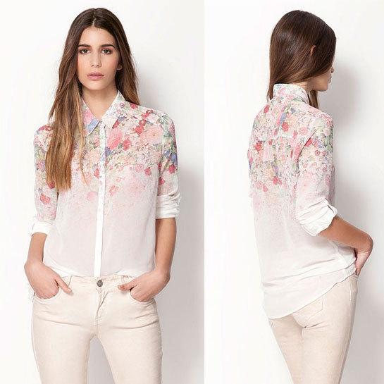 Hot Sell New 2014 Fashion Women Chiffon Blouses Women Flower Print Lapel Casual Chiffon Long Sleeved Shirts Women Tops JR 8303(China (Mainland))