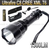 20SET UltraFire C8 CREE XML T6  5-Mode 1300 Lumen LED Flashlight Torch+Holster+Remote Pressure Switch+4000mah Battery+Charger