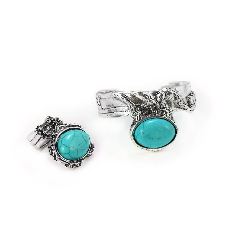 Vintage Jewelry Tibetan Silver Turquoise Rhinestone Ring&bracelet jewelry Sets(China (Mainland))