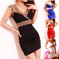 4 color new European and American nightclub sexy low-cut V-neck halter dress bag hip tight sequined dress was thin