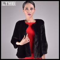 LTMB Women mink fur coat  fashion short style overcoat  O-nect collar three quarter sleeve winter  new style
