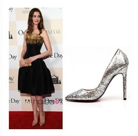 Super hot new star style sequins pointed sexy femal high heels thin heels/golden/silver