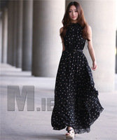 Retail Fashion Women's Polka Dots Maxi Long Casual Summer Beach Party Chiffon Dress,Big Size Women Sundress,2Colors