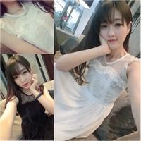 Summer skirt exquisite gentlewomen lace patchwork chiffon slim high waist one-piece dress sleeveless tank full dress
