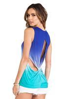 2014 women sexy tank tops Gradual gradient blue-green hanging with back cross Openwork female vest