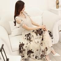 Women's chiffon one-piece dress female 2014 elegant slim short sleeve length skirt