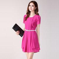 spring and summer formal ol slim o-neck pleated plus size short-sleeve chiffon dress