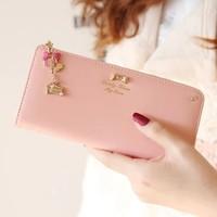 2014 new arrival fashion  cute diamond bowknot pendant women's long design wallet purse  free shipping