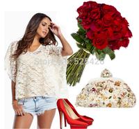 2014 New Arrival V -neck batwing sleeve shirt blouse blusas camisas femininas Fashion Sexy Women summer t-shirt  Free shipping
