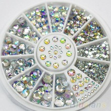 New Hot Sale 5 Sizes White Multicolor Acrylic Nail Art Decoration Glitter Rhinestones 0008 01D8(China (Mainland))