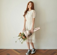 2014 short-sleeve lace one-piece dress slim all-match skirt midguts lining