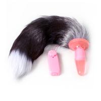 Electric Fox tail anal plug White tip  Sex Toys  Female anal masturbation  real animal fur  sex toys anal