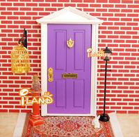 1:12 Dollhouse Miniature Pinnacle Wood Painted Lovely Fairy Doors Purple Attractive Exterior door  W/ Metal Accessories