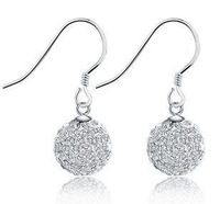 Wholesale Fashion 925 Sterling Silver Crystal Drop Earrings For Women 2014, E075 Free Shipping