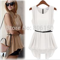2014 spring summer Europe America primer shirt waist skirt irregular round neck and long sections chiffon shirt dress
