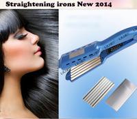 Titanium Ceramic Hair Straightening Flat Irons New 2014 Blue Straightening irons 110v -220v hair styling tools Free Shipping
