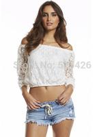 Fashion Sexy Women summer t-shirt 2014 New Arrival Slash neck short lace shirt blouse blusas camisas femininas