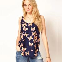 Fashion 2014 women's chiffon butterfly print vest o-neck  shirt sleeveless chiffon vest women's T-shirt 7239W