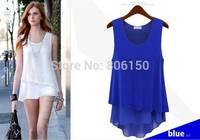 2014 Summer new style wild loose chiffon shirt was thin sleeveless vest dress strap stitching bottoming