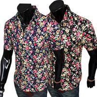 2014 new men's shirts men's fashion casual short-sleeved shirt Slim beach shirt flower