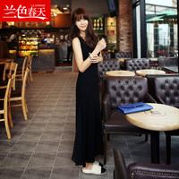 Bohemia spaghetti strap full dress summer female modal vest one-piece dress full dress
