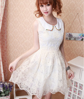 Sale ! Cute Beading Peter pan Collar Organza Lace Print  Above Knee Mini Ball Gown Dress (XS S M L )