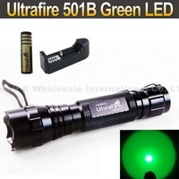 Ultrafire WF-501B Green LED Flashlight Torch +18650 4000MAH Rechargeable Battery + Charger