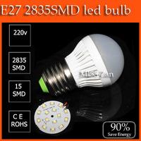 5pcs High brightness LED Bulb Lamp E27 2835SMD 3W  5w 6w 7w 9W 12W  AC220V 230V 240V Cold white/warm white Free shipping