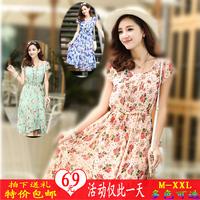 2014 summer bohemia slim medium-long short-sleeve ruffle chiffon one-piece dress female