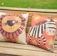 cartoon cute animal lion zebra linen pillow fashion nostalgic cushion cover sofa cushion