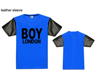 New arrival fashion boy london men's cotton t-shirt leather sleeve hiphop short t shirts for man blue/white/black/red/gray
