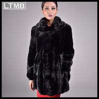 LTMB467  Luxury women mink fur coat fashion winter  full sleeve turn down collar slim style overcoat