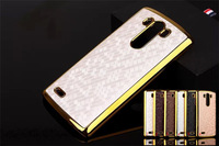 Bling Hard Football Square Case For LG G3 Electroplating Frame Hard Back Chromed Golden Cover Skin 5pcs