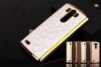 Bling Hard Football Square Case For LG G3 Electroplating Frame Hard Back Chromed Golden Cover Skin 5pcs