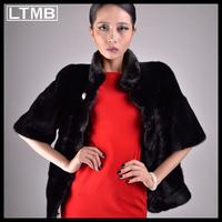 LTMB  Women genuine mink fur coat short style half sleeve mandarin collar new fashion winter  black winter and autumn