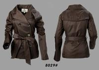 Women Fashion British Slim Belted Spring/Autumn Short  Coat  Designer Outerwear Elegant Double Breated Jacket #0530