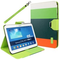 For Samsung Galaxy Tab 3 10.1 P5200 P5210 Tablet PU Leather Case Cover Wallet With ID Card Slot Stand With Free Screen Protector